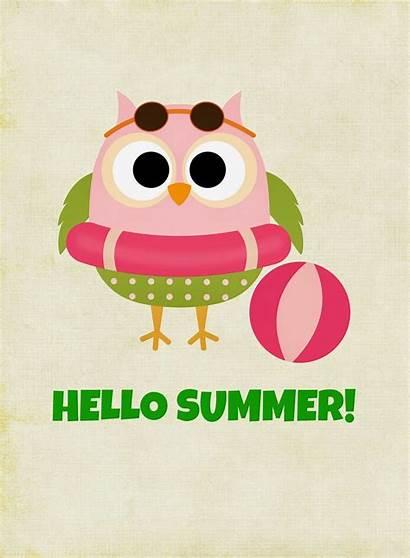 Summer Hello Owl Printables Printable Clipart Friday