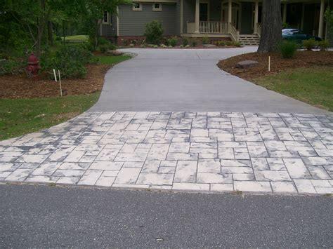 concrete stamped border driveway  broom finish interior