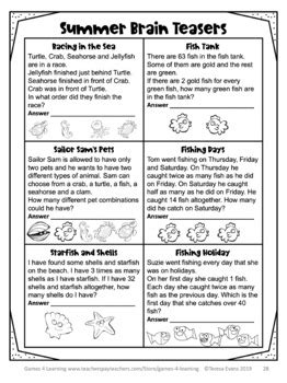 summer math packet puzzle worksheets  brain teasers