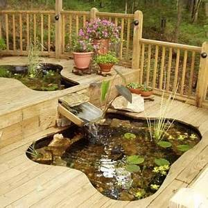 un bassin sur le terrasse en bois en deco exterieure With bassin de terrasse en bois