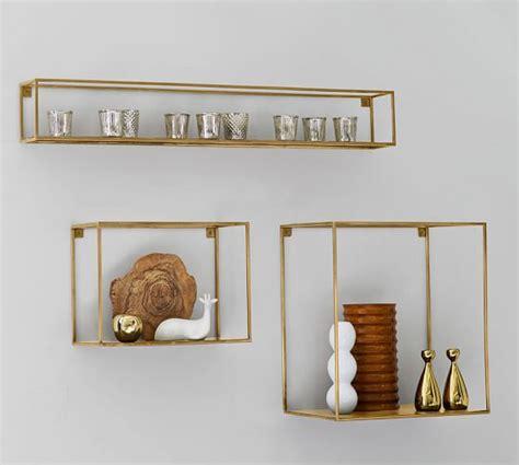 brass wall shelf cube display shelves pottery barn