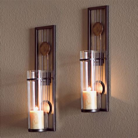 wall sconce glass metal wall mounted sconces 2 pillar candle holders