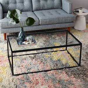 box frame coffee table glass antique bronze west elm With box frame storage coffee table