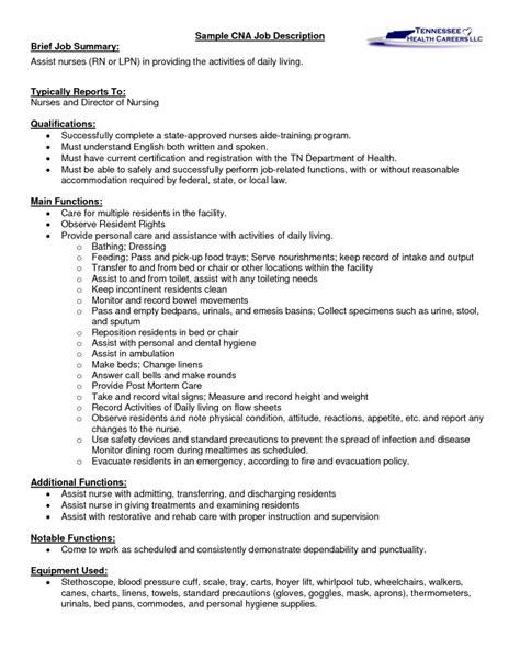 sle cna certified nursing assistant job description