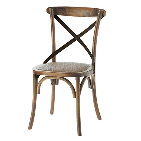 chaise en rotin naturel  chene effet vieilli tradition maisons du monde