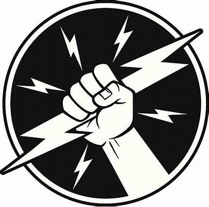 Electrician Symbol Vector Fist Lightning Bolt Illustration