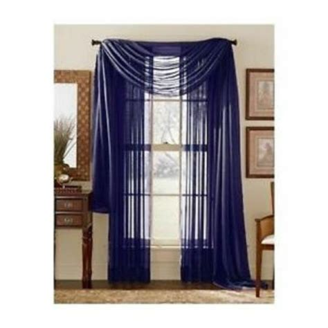 navy blue scarf sheer voile window curtain drapes valance