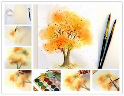 Painting Water Paint Fall Tree Watercolor Minutes