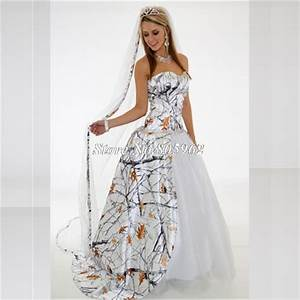 2015 white camo wedding dresses with train ball gown for White camo wedding dresses