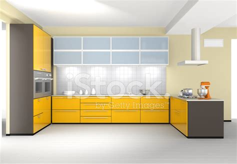 Modern Kitchen Interior Design With Yellow Color