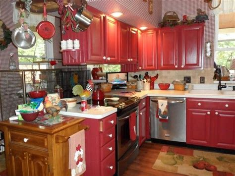 My Country Kitchen-i Painted My Oak Cabinets Red. A