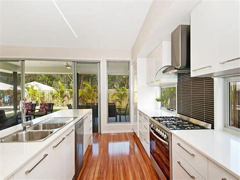 Modern Galley Kitchen Design Using Hardwood Kitchen