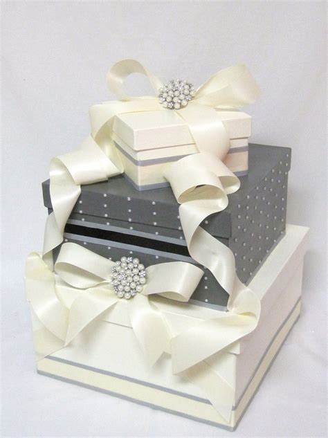 wedding card box with pearls and brooch as featured in