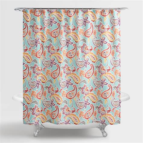 Aqua Paisley Valentino Shower Curtain  World Market