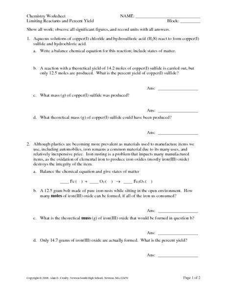 Limiting Reactants Worksheet Homeschooldressagecom