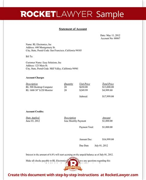 statement of account template statement of account free statement of account letter template with sle