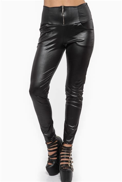 High Waist Faux Leather high waist zip up faux leather