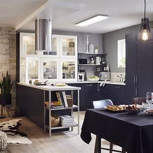 Meuble Cuisine Leroy Merlin : meuble de cuisine bleu delinia topaze leroy merlin ~ Melissatoandfro.com Idées de Décoration