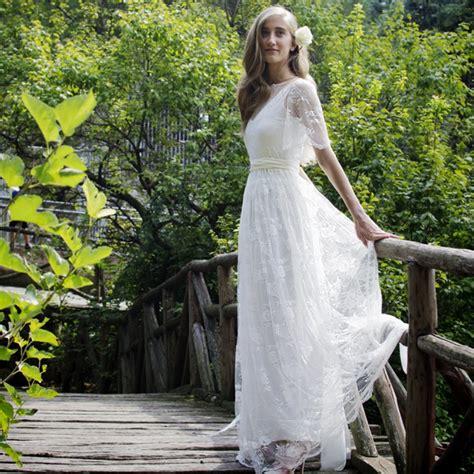 2016 Romantic Bohemian Beach Lace Wedding Dress Elegant