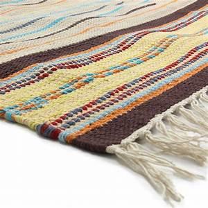 Tapis Tissé à Plat Pas Cher : tapis en coton tiss beige 90x60cm rainbow tapis petit tapis pas cher ~ Teatrodelosmanantiales.com Idées de Décoration