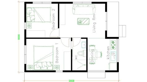 House Design Plans 6x8 with 2 Bedrooms SamHousePlans