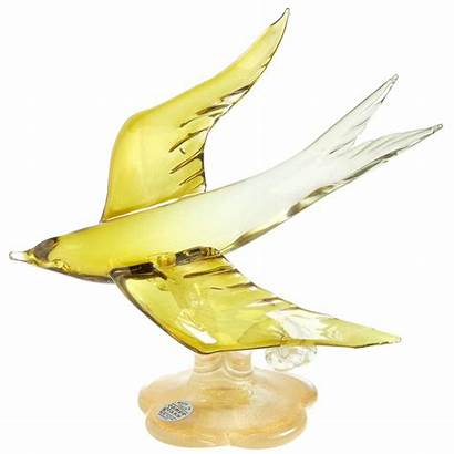 Glass Bird Swallow Flying Yellow Olive Sculptures