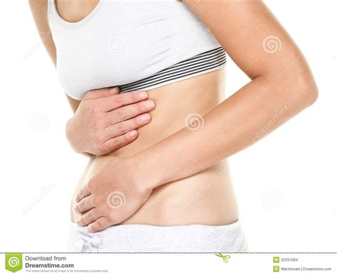 Stomach Pain Woman Having Abdominal Pain Stock Images