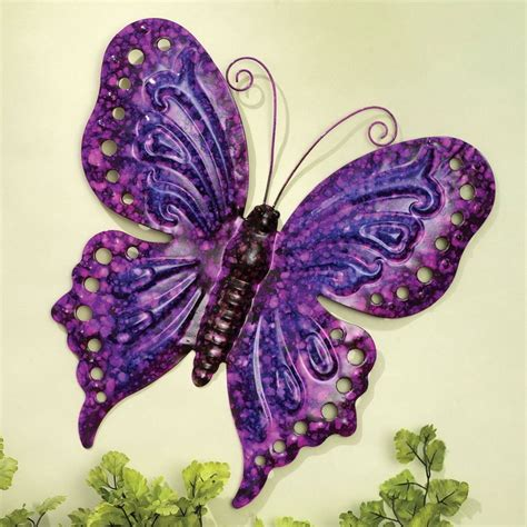 vintage metal purple butterfly wall hanging home decor