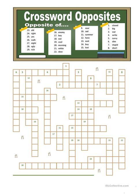 crossword opposites  images opposites worksheet