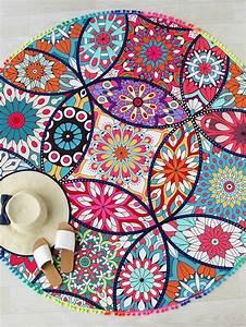 tapis de plage rond imprime fleur lotus french romwe With tapis rond lotus