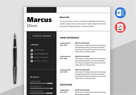 modern resume format modern resume template word maxresumes 23679 | marc resume template 1000x700