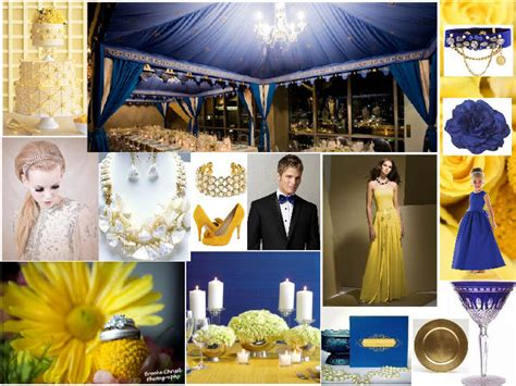 cobalt blue yellow  gold pantone wedding styleboard