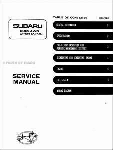 1980 Subaru Brat 1600 4wd Open Mpv Repair Shop Manual Original Supplement