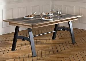 Acheter votre table pieds metal plateau chene et ceramique for Meuble salle À manger avec acheter table a manger