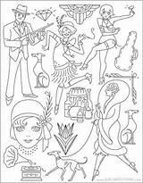 Coloring Roaring Twenties Embroidery Patterns Motifs sketch template