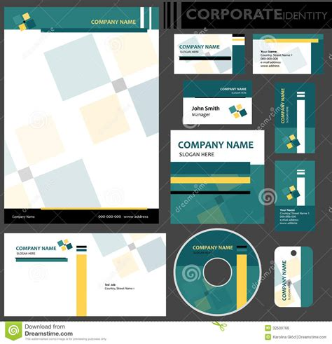 paper id template corporate identity template stock vector image 32500766