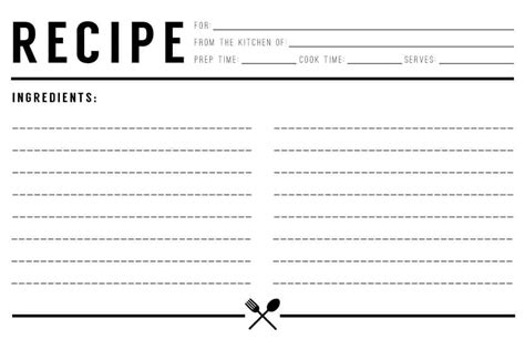 recipe card templates excel  formats