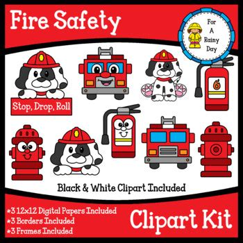 fire safety clipart kit clipart digital papers borders