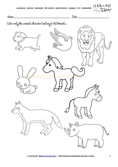 pet animals worksheets for kindergarten pet best free