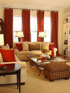 8 red room interior design ideas With red and cream curtains for living room