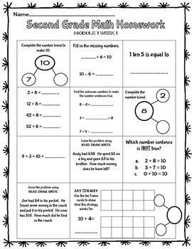 freebie eureka math 2nd grade homework sheet module 1 lessons 1 4 oa 1 oa 2