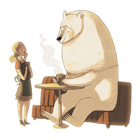 Our 3d wall art is made to be affordable and collectable. Polar Bear Coffee Break by znuese | Comic style art, Art ...