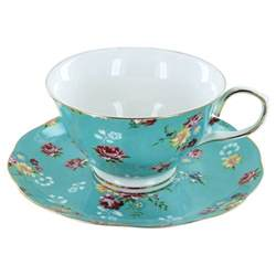 fudge gift boxes shabby turquoise porcelain teacup and saucer set
