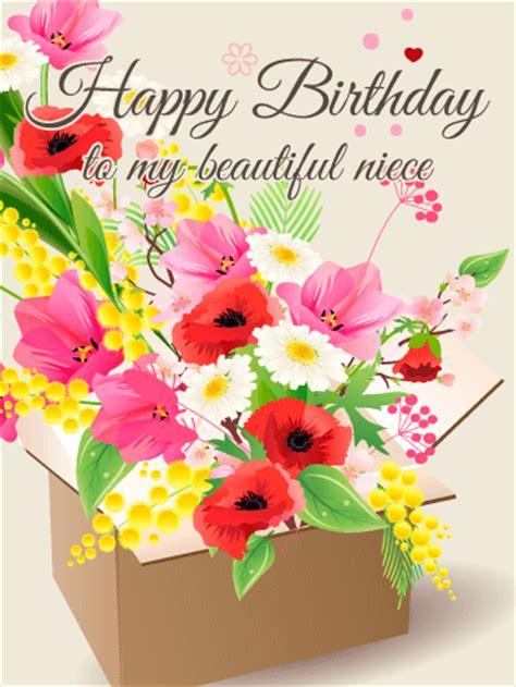 gorgeous flower happy birthday card  niece birthday