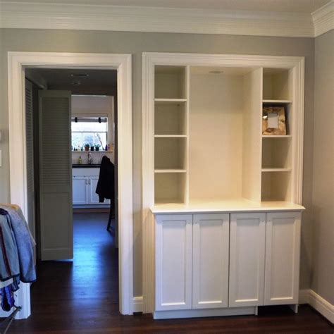 custom dry bar bookcase built ins installed  week