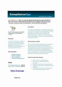 How To Write A Standard Operating Procedure Sop