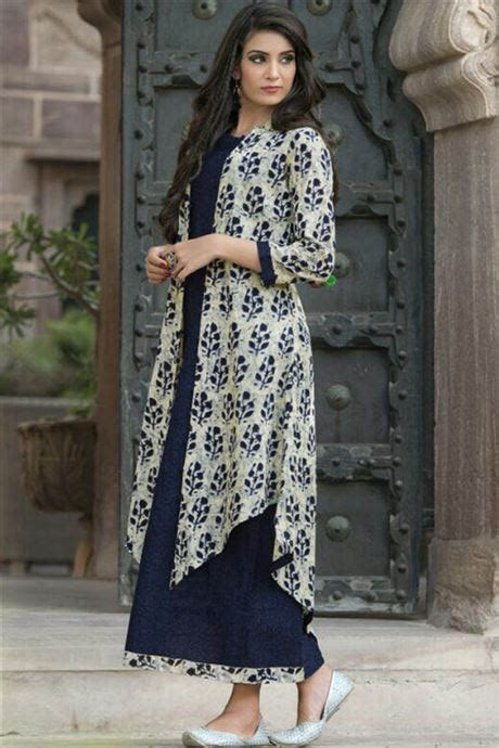 cotton casual wear printed long straight style kurtis