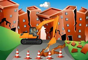 Earthquake Scene With Bulldozer And Buildings