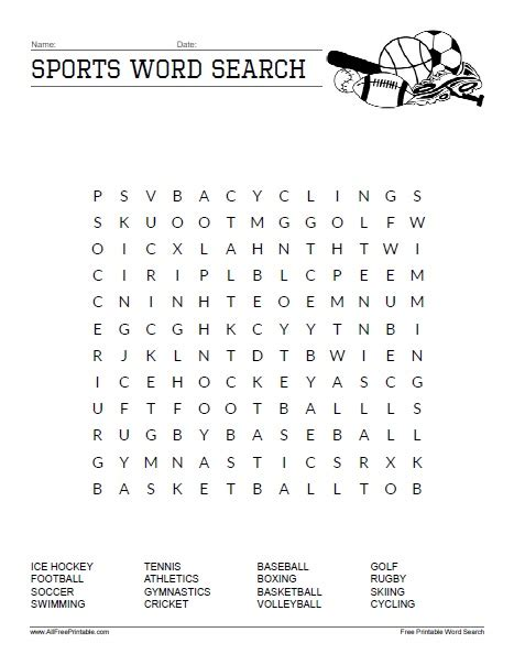 sports word search free printable allfreeprintable