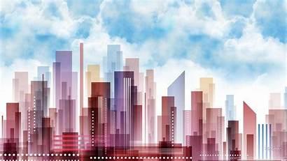 Pastel Abstract Town Wallpapers Backgrounds Skyscrapers Desktop